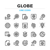 Globe line icons set. Modern outline elements, graphic design concepts. Stroke, linear style. Simple symbols collection. Vector line icons