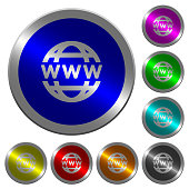 WWW globe icons on round luminous coin-like color steel buttons