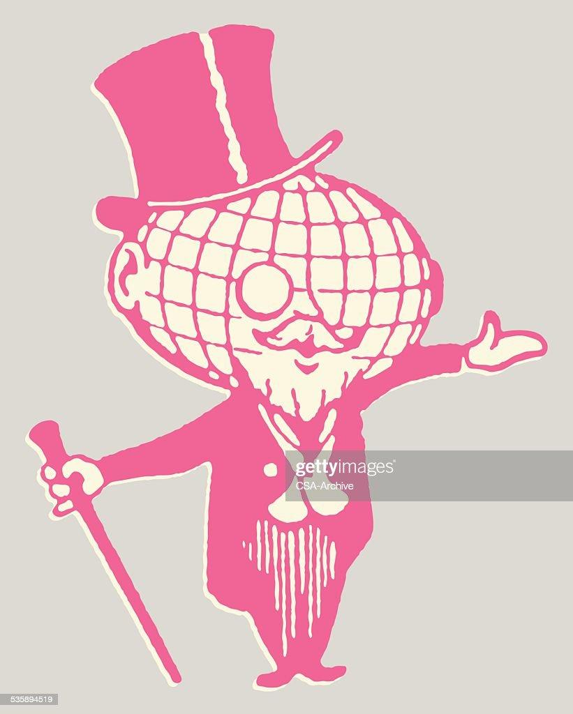 Globe-Man mit Monokel und Mütze : Vektorgrafik