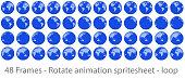 Globe rotation animation sprite sheet loop animation, animation frames, forty eight animation frames, loop animation, world map