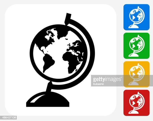 Globe soporte plano iconos de diseño gráfico