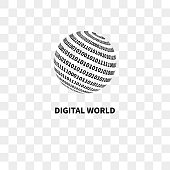 Globe with binary code. Digital world. Vector