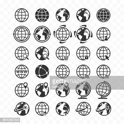 Globe web icon set. Planet Earth icons for websites. : Vector Art
