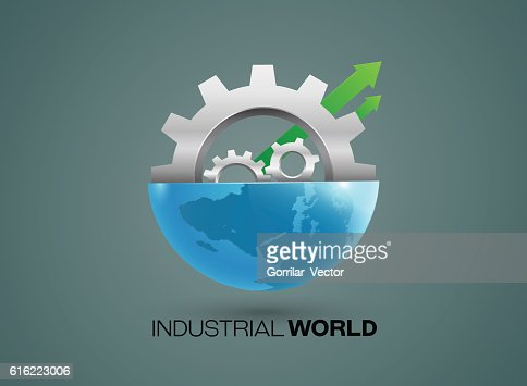 Globes and gears industrial vector : Vector Art