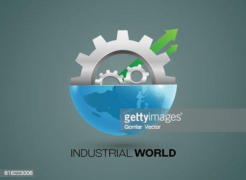 Globes and gears industrial vector : Vektorgrafik