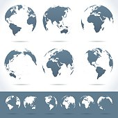 Vector set of different globe views.