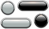 Glossy buttons with metallic, chrome elements, black and grey vector illustration.