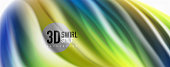 Glossy colorful liquid waves abstract background,, modern techno lines. Vector stripes, motion concept