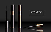 Glossy mascara product, black and golden package design in 3d illustration for edited