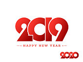 Glossy red text 2019 on white background can be used as Happy New Year greeting card design.