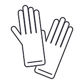 gloves vector line icon, sign, illustration on white background, editable strokes