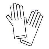 gloves vector line icon, sign, illustration on white background, editable strokes