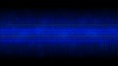 Glowing binary code blue abstract background, cloud of big data, stream of information