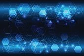 glowing blue hexagonal abstract tech background as technology and future concept, vector illustration