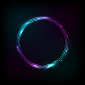Circle banner blue purple, neon, glow . Flares in motion
