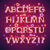 Glowing double neon red alphabet makes it quick and easy to customize your Valentines day project. Used neon brushes included. There are fastening elements in a symbol palette.