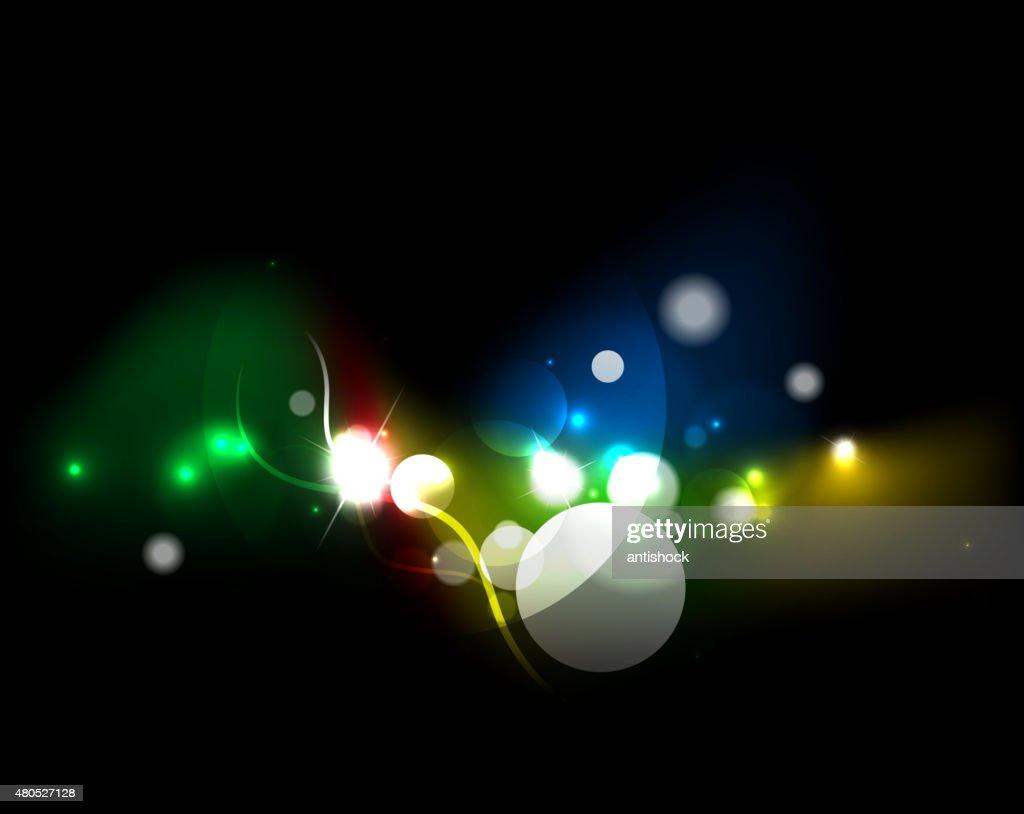 Glowing elements in dark space : Vector Art