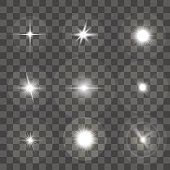 Glowing Light Effect Set on Black Transparent Background. Star or Beam. Vector illustration