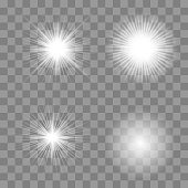 Glowing lights effect, flare, explosion and stars. Special effect isolated on  background - Vector illustration EPS10