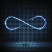 Glowing neon infinity symbol with bright lights and distorted lines on a grid background. Vector technology design