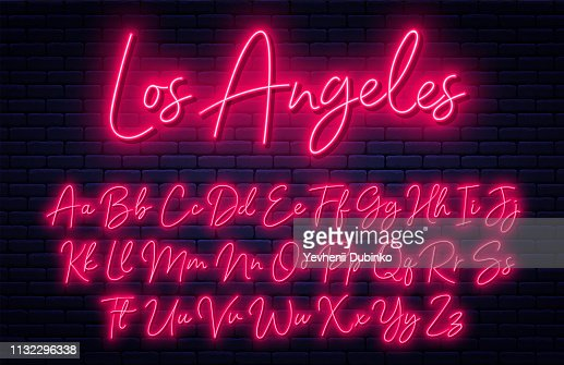 Glowing neon script alphabet. Neon font with uppercase and lowercase letters. Handwritten english alphabet : stock vector