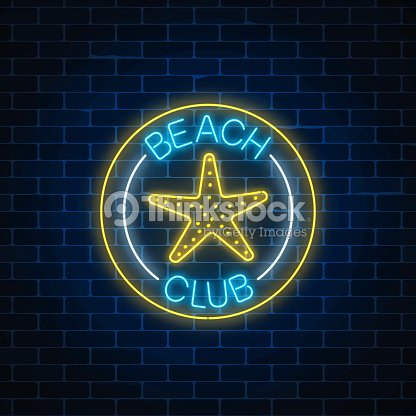 Glowing neon sign of recreation beach club with sea star symbol in circle frames on dark brick wall background.