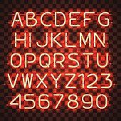 Glowing Orange Neon Alphabet with letters from A to Z and digits from 0 to 9 on transparent background. Glowing neon effect. Every letter is separate unit with wires, tubes, brackets and holders.