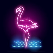 A glowing neon tube pink flamingo bird sign. Layered Vector illustration.