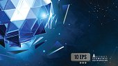 The glowing blue polygonal abstract triangular sphere combine on dark shatter graphic template background