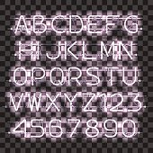 Glowing white alphabet with letters from A to Z and digits from 0 to 9. Glowing neon effect. Every letter is separate unit with wires, tubes and holders and can be combined with other.