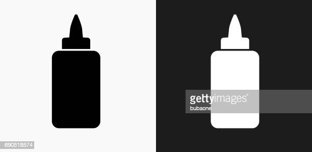 Glue Bottle Icon on Black and White Vector Backgrounds