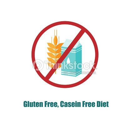 Gluten And Casein Free Icon Crosed Sign With Pack Of Milk