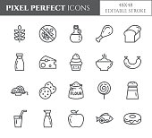 Gluten free products theme pixel perfect thin line icons. Set of elements of wheat, meat, fruits, cakes and other diet related pictograms. Vector illustration. 48x48 pixels. Editable stroke.