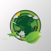 Let's go to the green earth.With eco and nature concept design paper art style vector illustration.