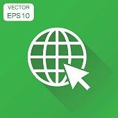 Go to web icon. Business concept network internet search pictogram. Vector illustration on green background with long shadow.