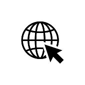 Go to web Icon in flat style isolated on white background. Website pictogram. Internet icon in black. Earth symbol with arrow for web site design, logo, app, UI. Vector illustration