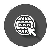 Go to web icon. Internet flat vector illustration for website with long shadow.