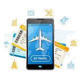 Go Travel Booking Concept with a Passenger Plane Mobile Ticket for Web and App. Vector illustration