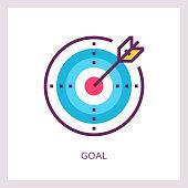 Goal achievement icon. Aim business concept. Vector linear pictogram.