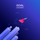 Goal achievement - modern isometric vector web banner on dark blue background. High quality composition with businessman in a superhero cape flying. Leadership, motivation, ambition concept