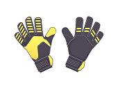 Goalkeeper protection gloves. Vector illustration. Soccer goalkeepers gloves isolated on white background