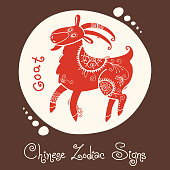 Goat. Chinese Zodiac Sign. Silhouette with ethnic ornament. Vector illustration