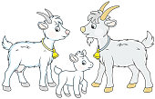 A funny goat family, a vector illustration in cartoon style