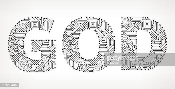 Dios botones de Vector de tarjeta de circuitos