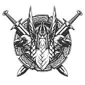 God Odin illustration tattoo style in vector
