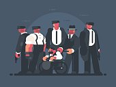 Godfather of mafia. Man in wheelchair and group of gangsters. Vector illustration