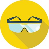 Goggles isolated on yellow background with a shadow underneath. Flat styled vector illustration.
