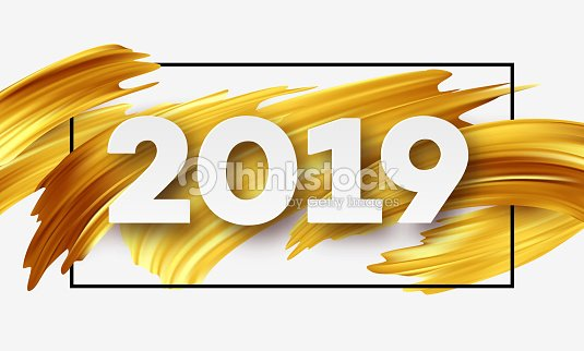 gold 2019 happy new year greeting card vector illustration vector art