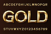 Gold alphabet font. 3d beveled gold effect letters and numbers. Stock vector typescript for your design.