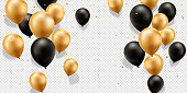 Gold and black balloons with confetti on a transparent background.